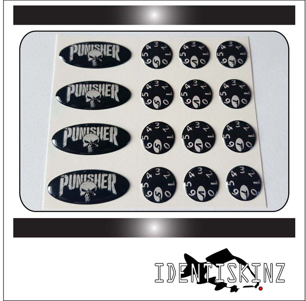 Delkim txi std ev plus models domed oval dial stickers kit punisher ebay
