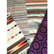 4 Antique Swedish Wool Tapestry Table Runners 1920-1960