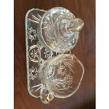 Vintage Glass Creamer and Sugar on Tray