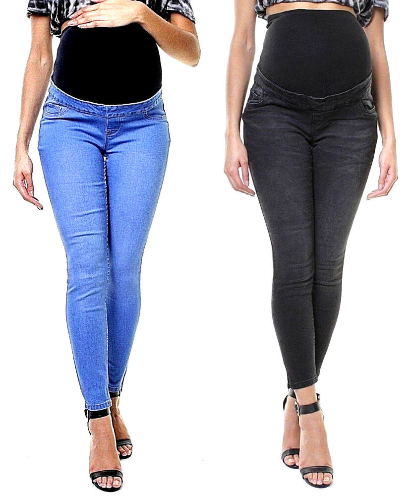 e33054b859e Details about Maternity Over Bump Slim Skinny Jeans Jeggings Pregnancy  Stretchy Pants 8-18