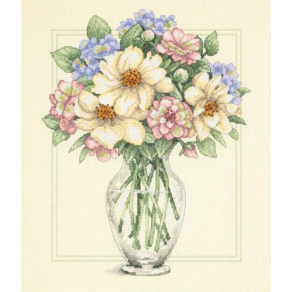 Dimensions Needlecrafts Flowers In Tall Vase Counted Cross Stitch Kit
