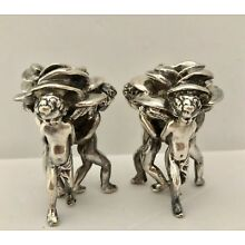 2 Angel Putto Cherubs Holding Rose Small Candle Holders 925 Sterling Silver Vtg