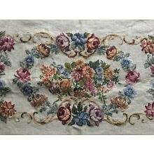 Lrg Antique Vtg Embroidered Needlepoint Petit Point Floral Panel - Austria 268/2