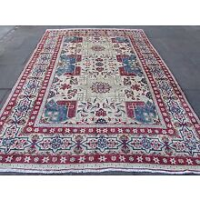 Old Traditional Hand Made Persian Rugs Oriental Cream Wool Carpet 330x240cm