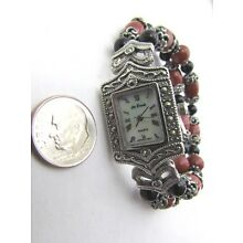 Lee Sands Marcasite Framed MOP Watch Face w Red Jasper & Glass bead Stretch band