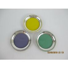 TOWLE STERLING SILVER RIMMED AND ENAMEL DRINK COASTERS