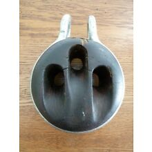 Antique XL Maritime Nautical Wood Block Deadeye Pulley with Shackle
