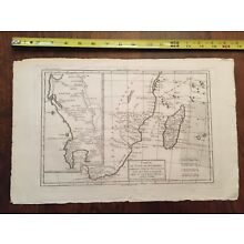 1780 Bonne genuine antique map of South Africa and