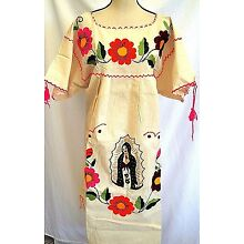 Ivory Mexican Dress Manta Virgen Guadalupe hand Embroidered Caftan 2XL Vintage