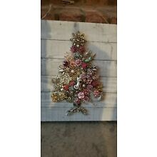 Vintage jewelry Framed Christmas Tree Altered Art Shabby Pinks