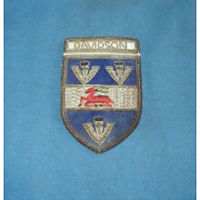 Vintage Embroidered DAVIDSON Family Crest /Coat of Arms FREE SHIPPING