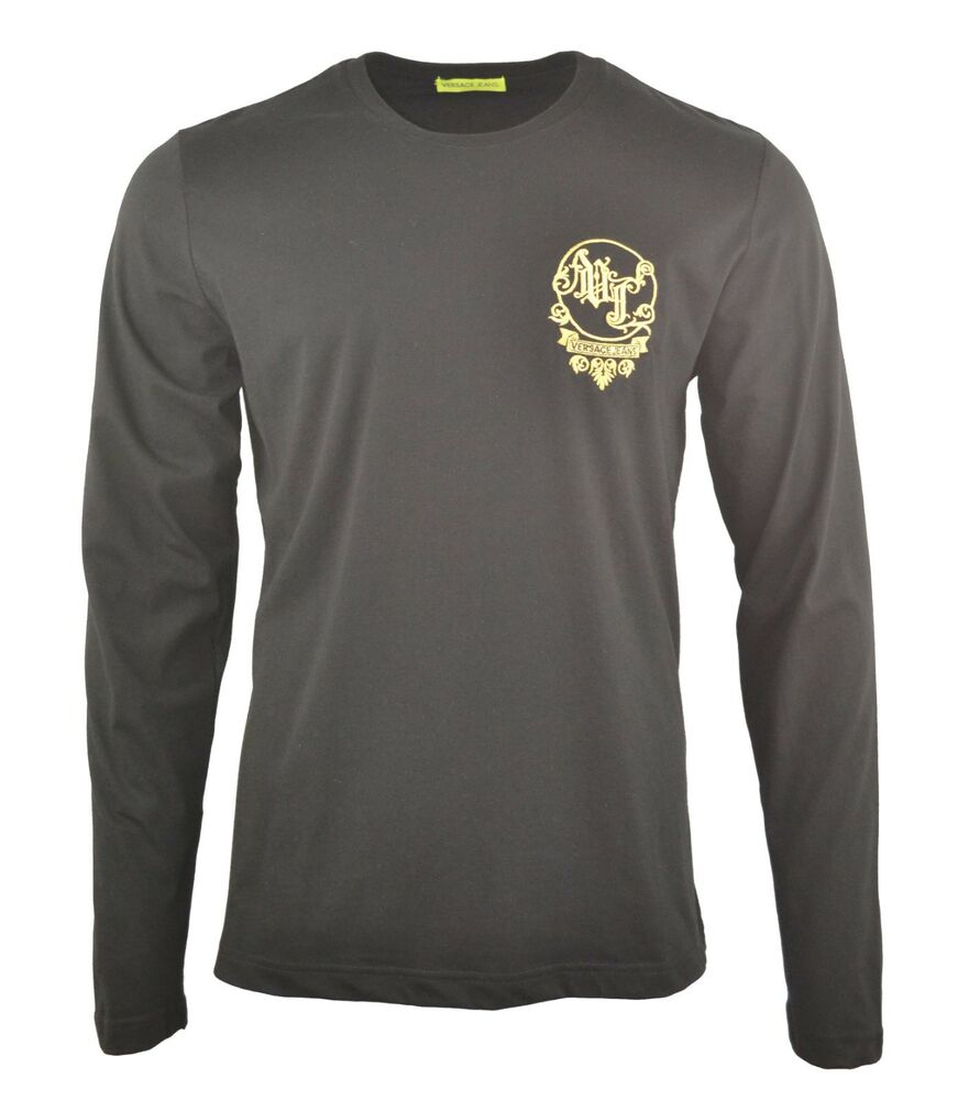 76c82e2c3 Details about VERSACE JEANS EMBROIDERED CHEST LOGO LONG SLEEVE T-SHIRT BLACK  & GOLD RARE