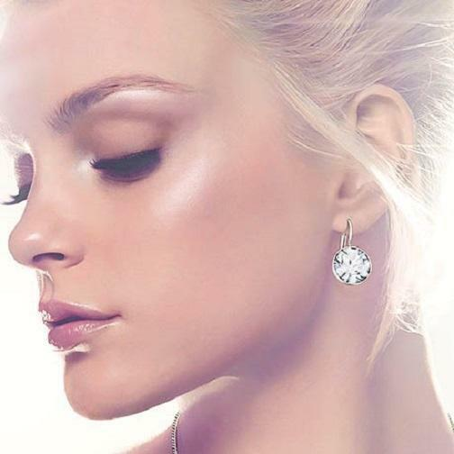381099acea23e8 Details about Med Bella Earrings Made with Swarovski Crystals Gold Silver  Plated Bezel Lever