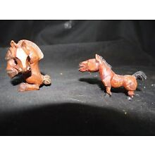 2 old carved wooden horse miniatures.nice detail,1 1/4'' tall for one,2''long