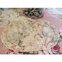 Antique Normandy Lace Doily Needlewok Floral Cotton Netting A31s