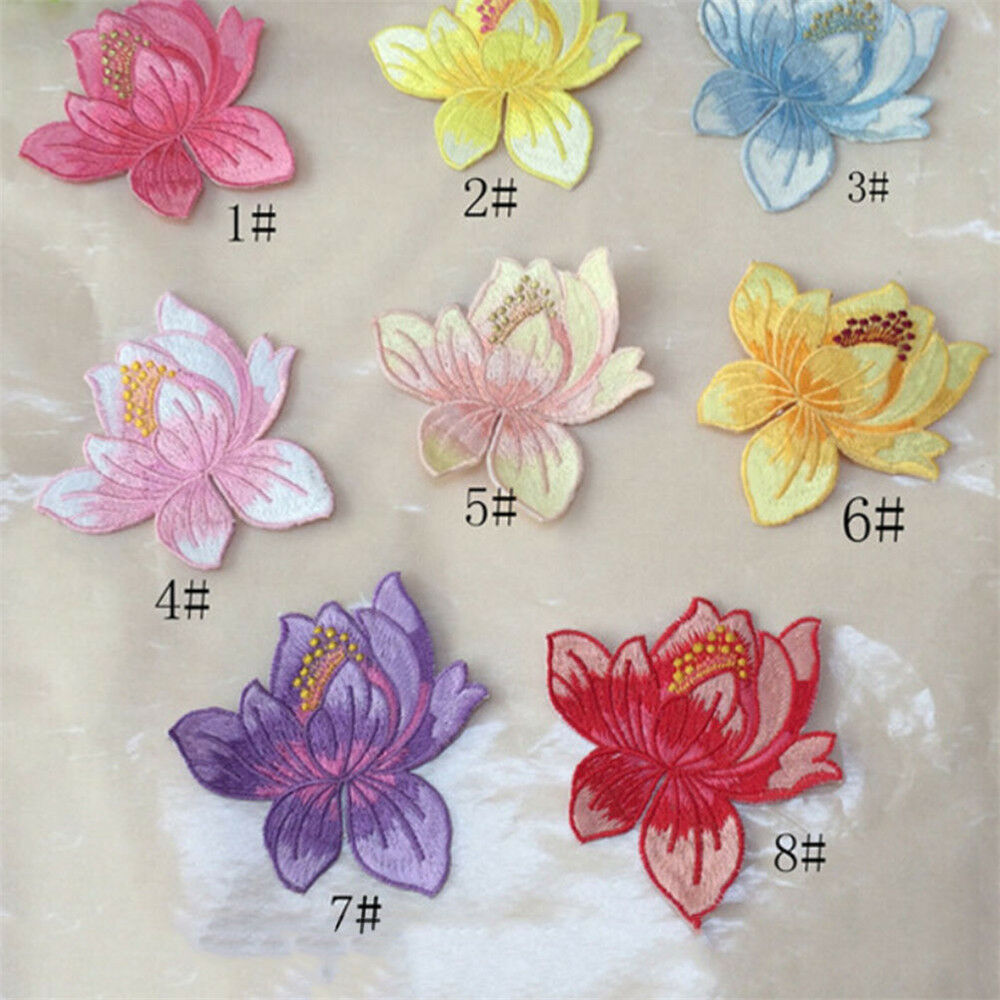 Lotus Flower Applique Clothing Embroidery Patch Sticker Iron On Sew