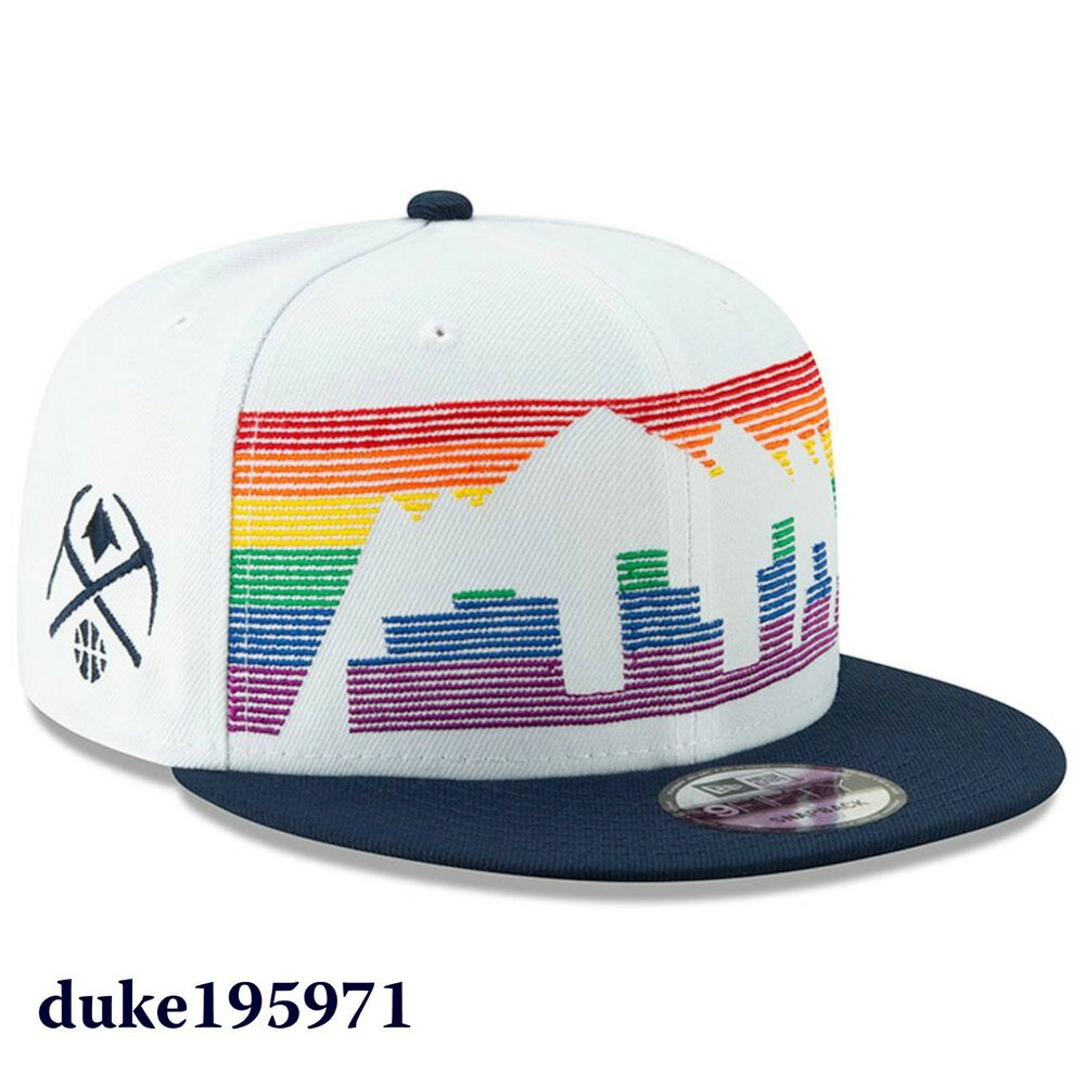 online retailer 35aeb 9ee0d Details about New Era Denver Nuggets White 2018 City Edition On-Court 9FIFTY  Snapback Hat