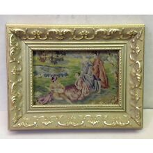 ANTIQUE VINTAGE FRAMED SILK PETIT POINT PANEL FIGURAL SCENIC