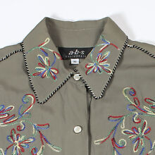 VTG RAYON GABARDINE WESTERN SHIRT PEARL SNAP EMBROIDERED CALIFORNIA RANCHWEAR S