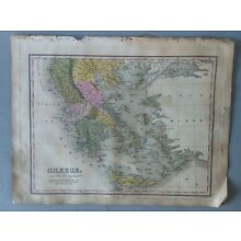 1824 MAP GREECE ANTHONY FINLEY