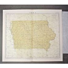 original Map of Iowa from 1877 printing 9th Edition Encyclopedia Britannica