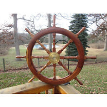 VINTAGE LARGE SHIPS WOODEN AND BRASS STEERING WHEEL. 41