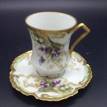 Coronet Limoges Violets Flowers Gold Trim Chocolate Coffee Cup Saucer Teacup