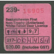 CANADA REVENUE SASKATCHEWAN HUNTING LICENCE 1997 WHITE-TAILED DEER