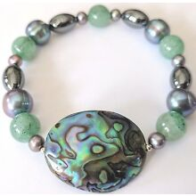 Paua Shell and  Genstone Stretch Bracelet with Aventurine
