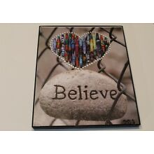 Paper bead artwork. Believe in Your Heart. Hand made paper bead sculpture.