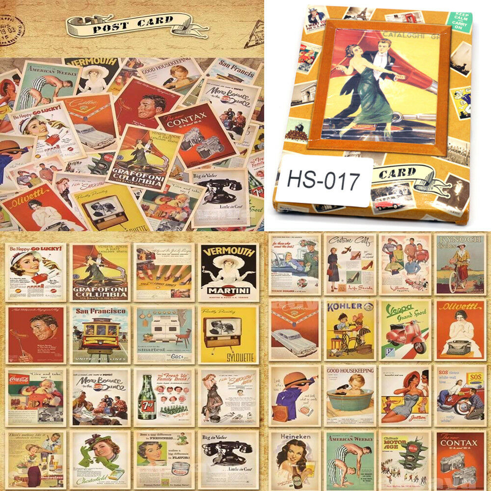Details about 32Pcs Mixed Vintage Postcards Retro Advertising Movie Travel  Post Cards Gift UK