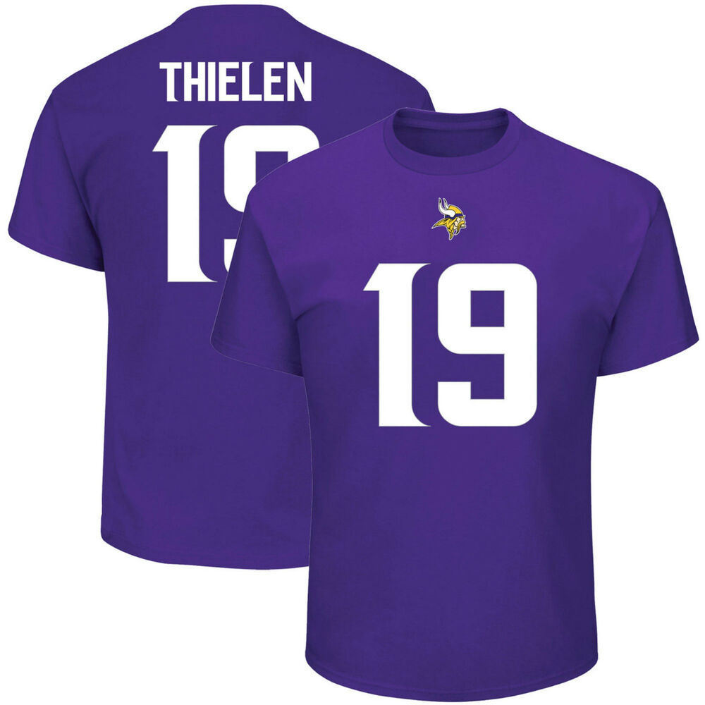 3137d5d3a Details about Adam Thielen Minnesota Vikings  19 Majestic NFL T-Shirt  Purple Jersey