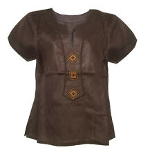Brown African Top with Embroidery for Women. Ladies shirt