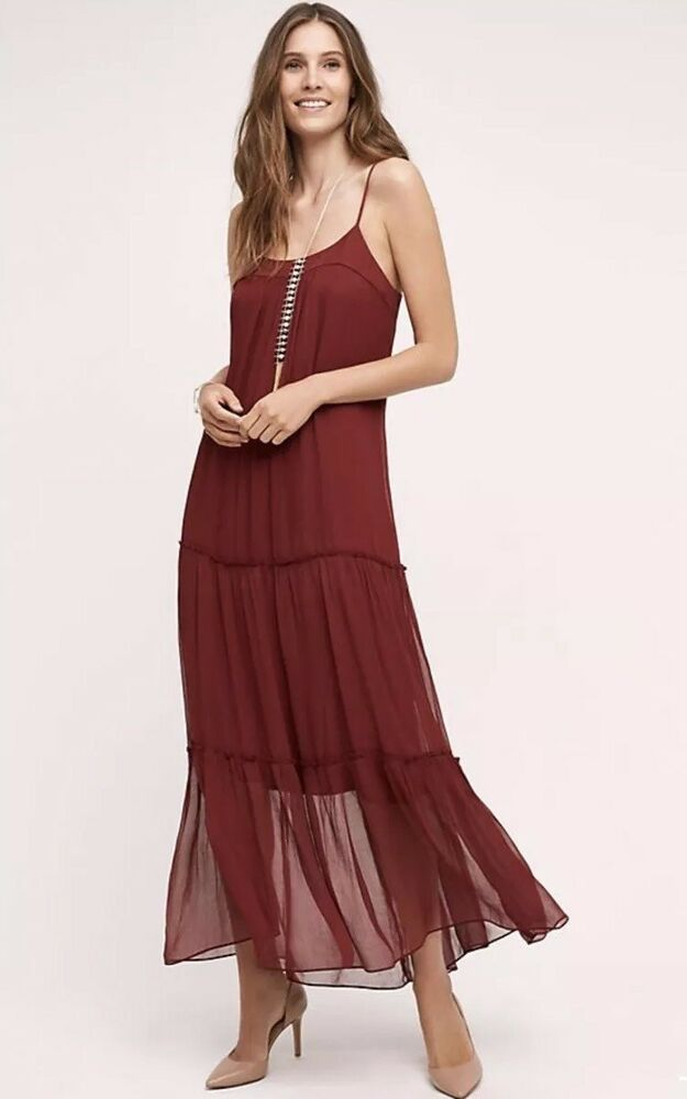 22e1e1031f16 Details about NEW ANTHROPOLOGIE FLOREAT SZ XSP SAFFA CHIFFON TIERED MIDI  MAXI DRESS  178