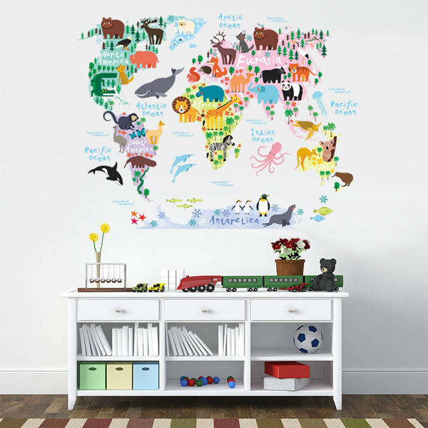 Animal World Map Wall Sticker Removable Decal Baby Kids Room Nursery ...