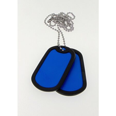img-2 x Military Dog Tags in BLUE with 1 x Chain, Army ID Tag, Necklace Soldier