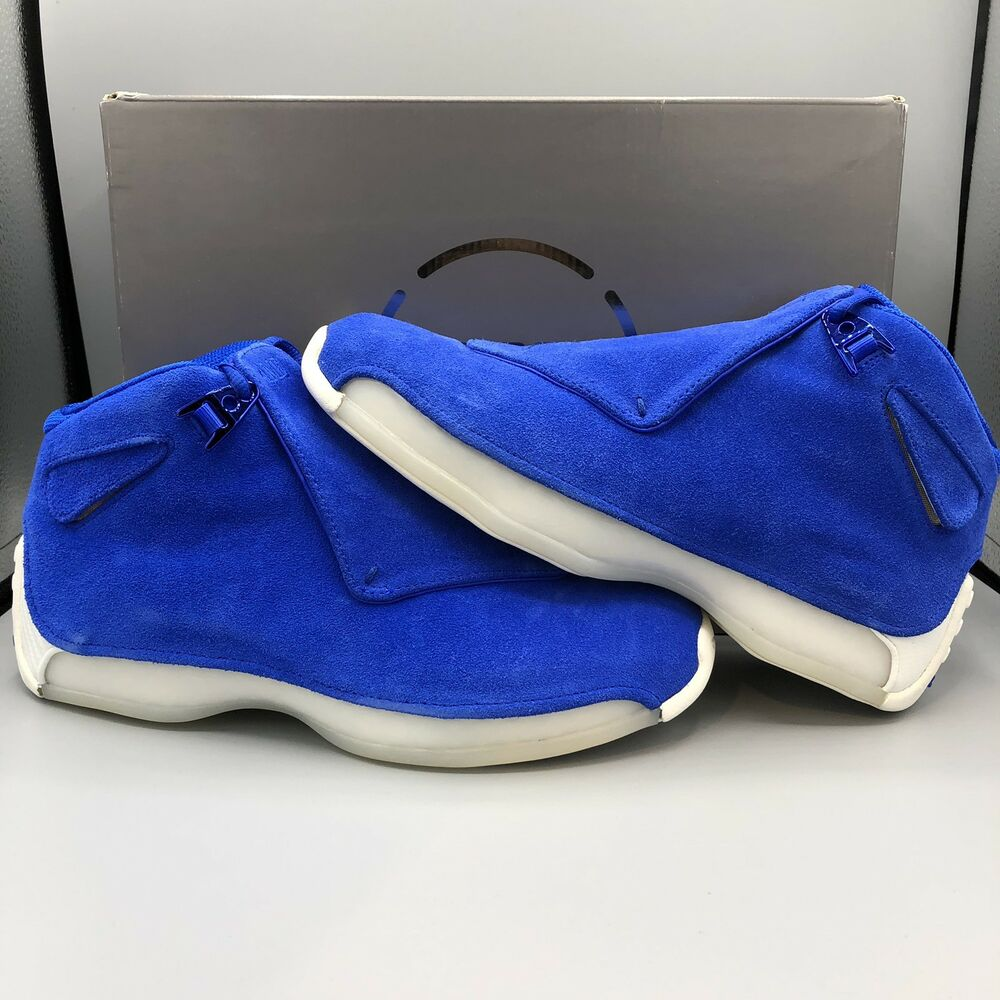new style ac80a ed11e Details about Nike Air Jordan Retro 18 Racer Blue Suede Size 8 AA2494 401  Concord Space Jam XI