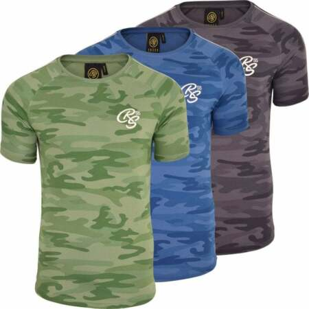 img-Crosshatch Mens CRS Designer Short Sleeve Camo Army Print Crew Neck T Shirt Top