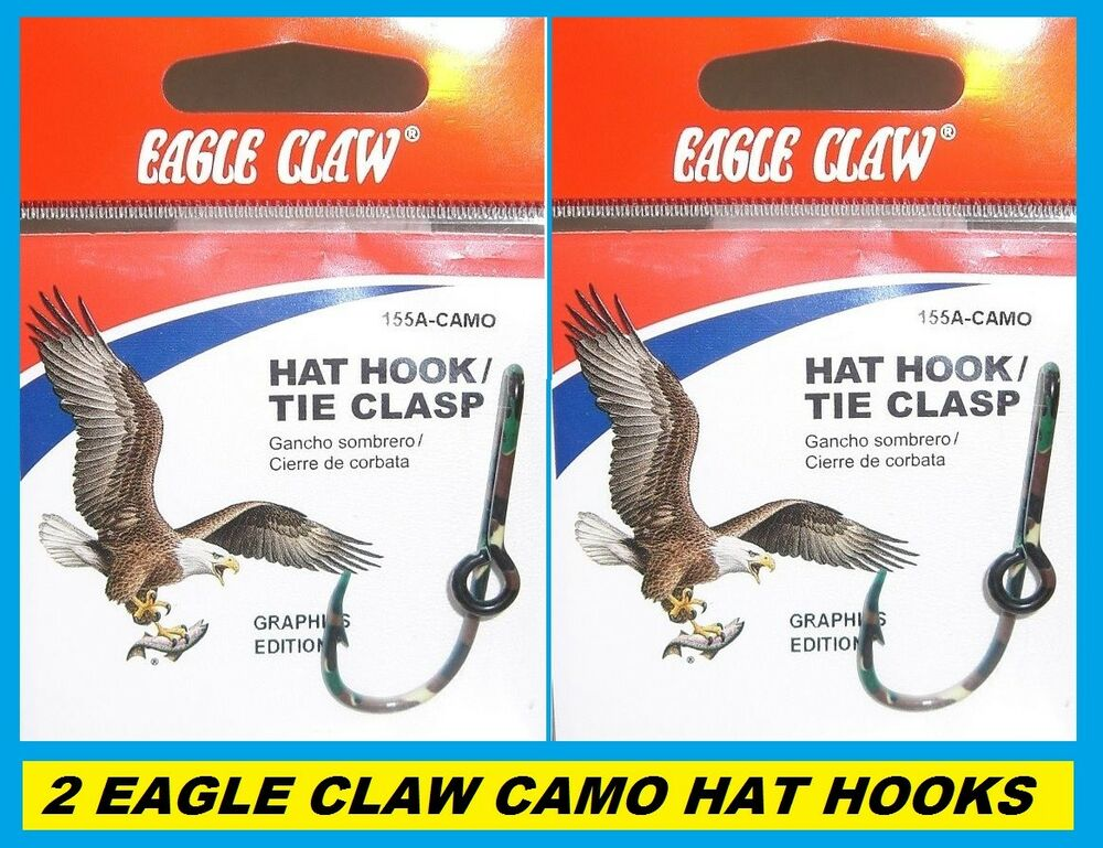 52b70e716e87d Details about 2 EAGLE CLAW CAMO HAT HOOKS NEW! Hat Pin Tie Clasp  155A-CAMO  FISH HOOK HAT PINS