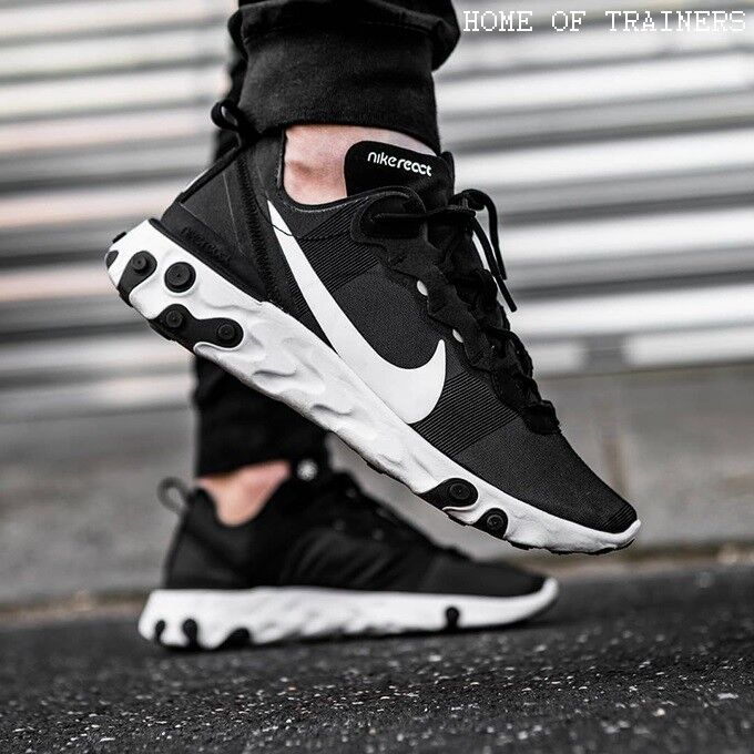 new concept fafda 94784 Details about Nike React Element 55 Black White Girls Women s Trainers All  Sizes