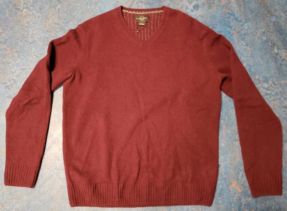 f6308a07ca37 Details about BLACK   BROWN Men s Red V-neck Lambswool blend Sweater  Pullover Size Large