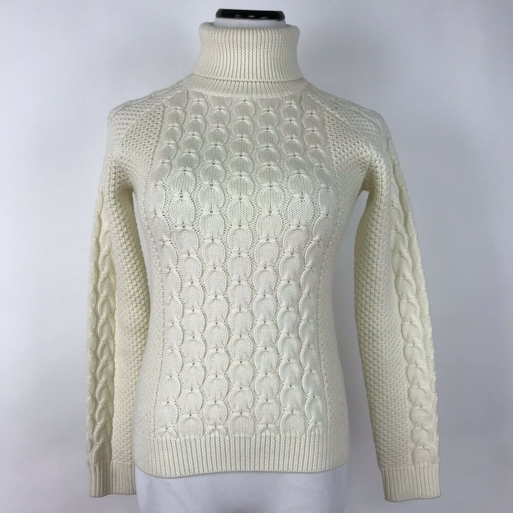 08ee4ff419b0d5 Details about Peter Millar XS Cream Merino Wool Cable Knit Turtleneck  Sweater Womens