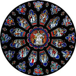 STAINED GLASS WINDOW ART - STATIC CLING  DECORATION - BRISTOL ROSE WINDOW