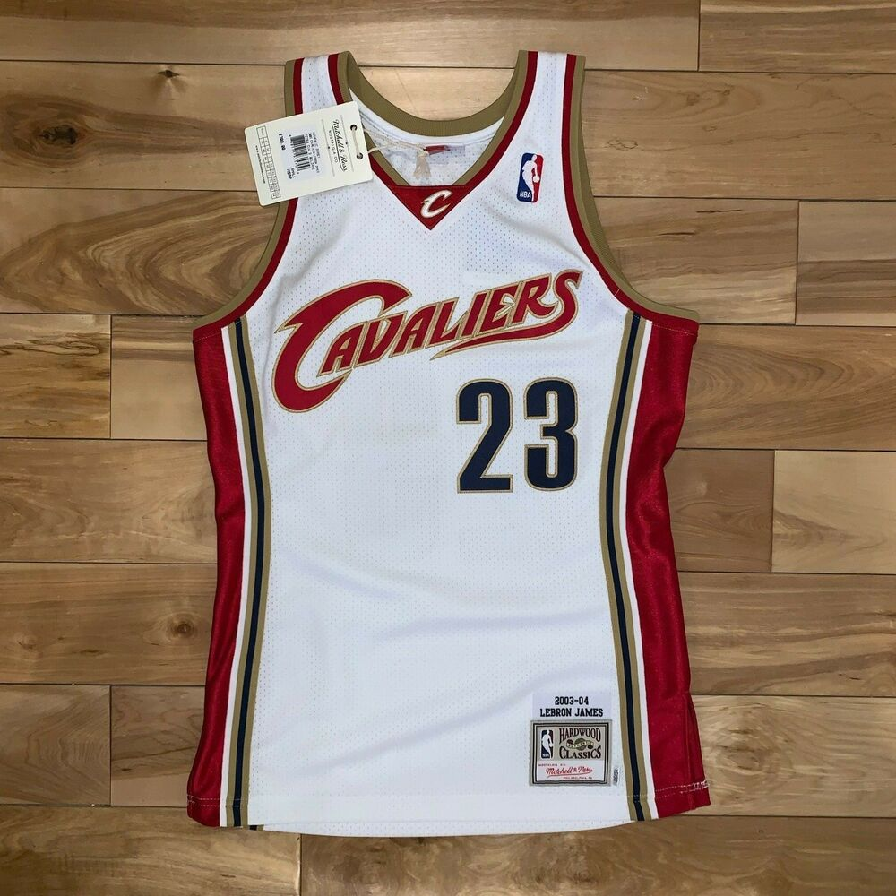 33749ebe5 Details about 100% Authentic Lebron James Mitchell Ness 03 04 Home Cavs  Jersey Sz: S-XL