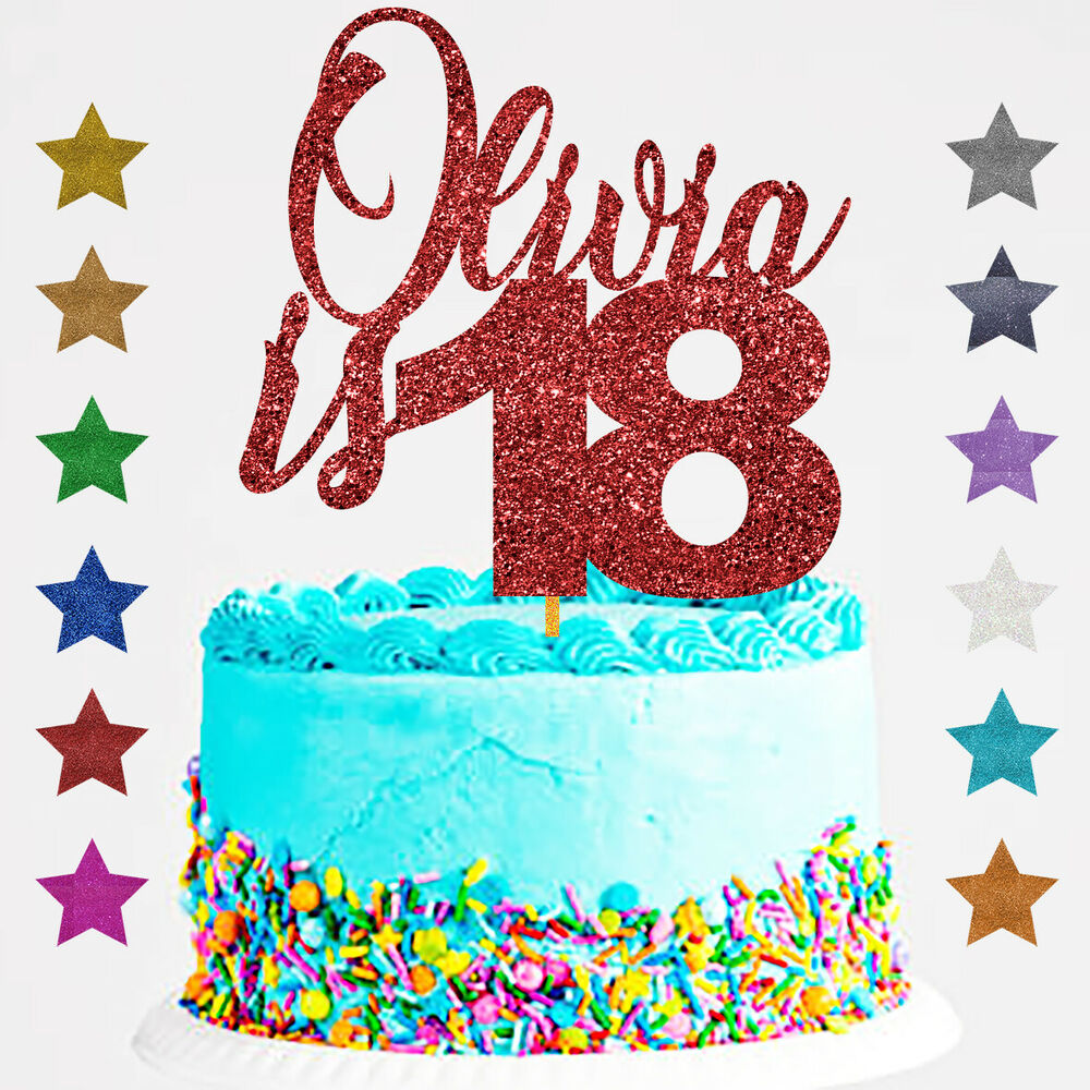 Details About Personalised Happy 18th Birthday Glitter Cake Topper Any Name Age 21 30 40