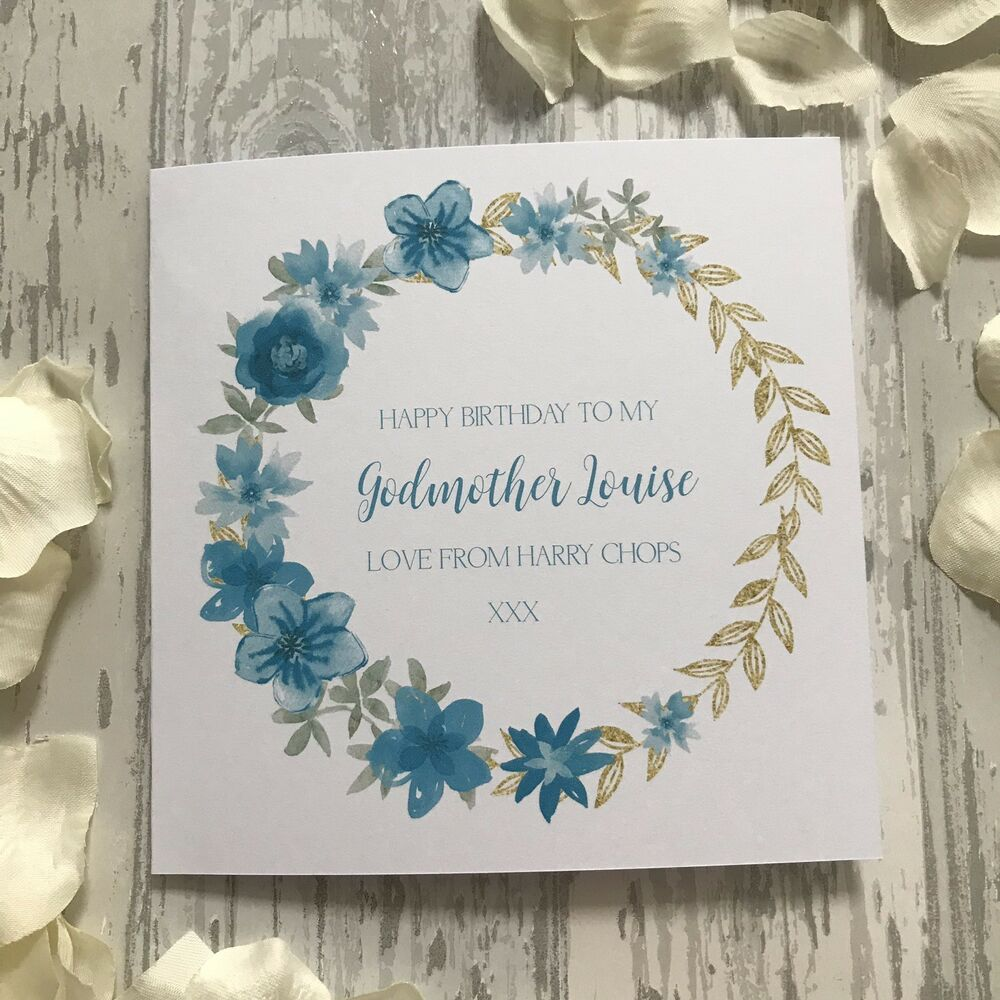 Personalised Aqua Wreath Birthday Card Godmother Daughter Sister