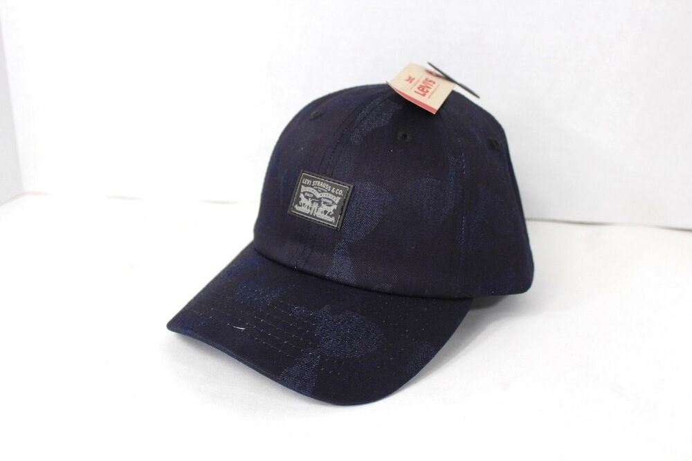 New Levis Spell Out Waxed Denim Camouflage Adjustable Snapback Hat Cap Blue   edd187b7026