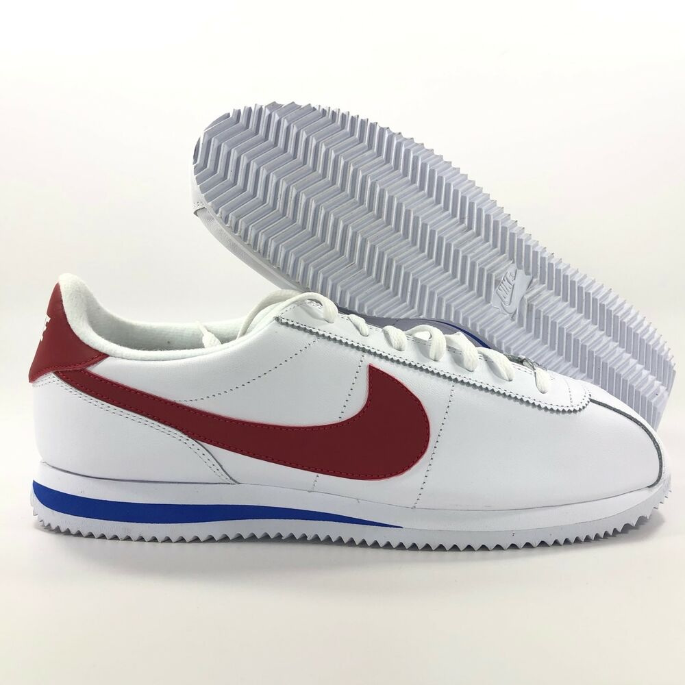 online retailer 3c631 0b09a Details about Nike Cortez Basic Leather OG Forrest Gump White Red Blue  882254-164 Mens 11