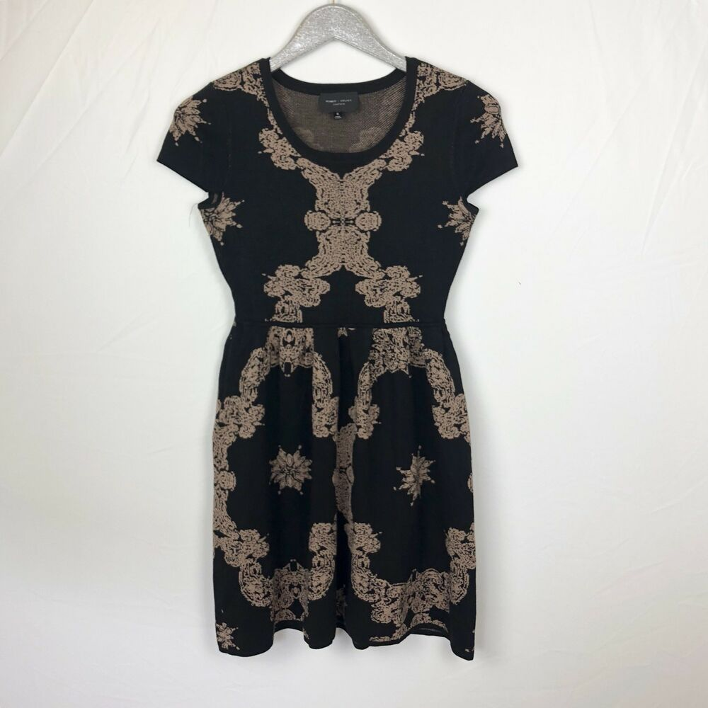 36596b9736d Details about Romeo And Juliet Couture Black Gold Knit Fit And Flare Skater  Dress Size Small S