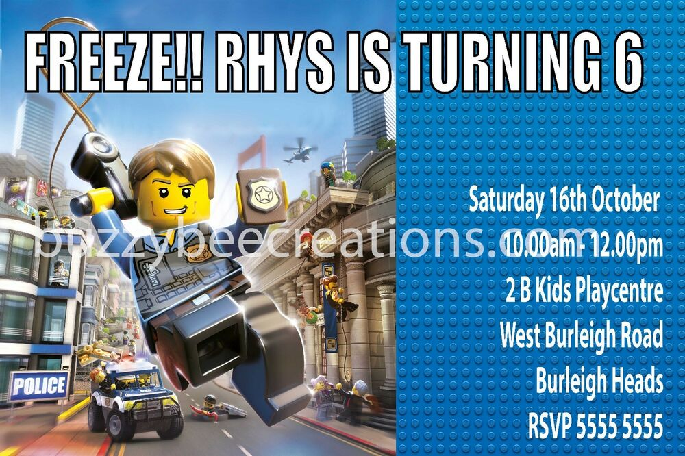 Details About LEGO City Police Personalised Birthday Invitations DIY Printing